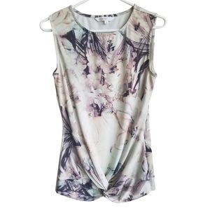 CLEO / Watercolour Floral Knot Front Tank Top